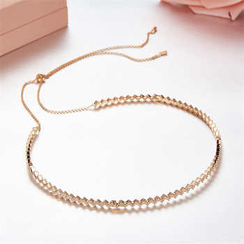 SLJELY Solid 925 Sterling Silver Zigzag Wave Necklace Adjust Chain Up and Down Choker Zircon Choker Women Luxury Party Jewelry