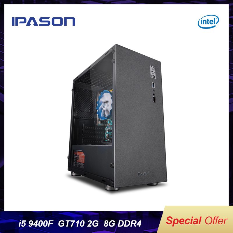 IPASON Official Devices I5 7500/8400 Upgrade 9400 9th Gen GT710 2G DDR4 8G RAM Desktop Home Office Computer Cheap Gaming PC