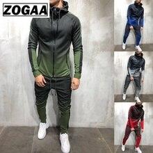 ZOGAA 2019 真新しい男性トラックスーツ 2 個セット 3D グラデーションカラーカジュアルパーカートレーナーとパンツスポーツウェアジョギング男性セット