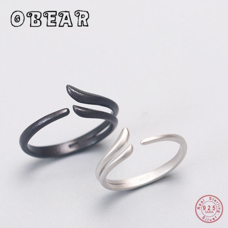 OBEAR 100% 925 스털링 실버 윙 커플 링 독창성 디자인 로맨틱 링 남성 여성용 단순 개방 조절 가능
