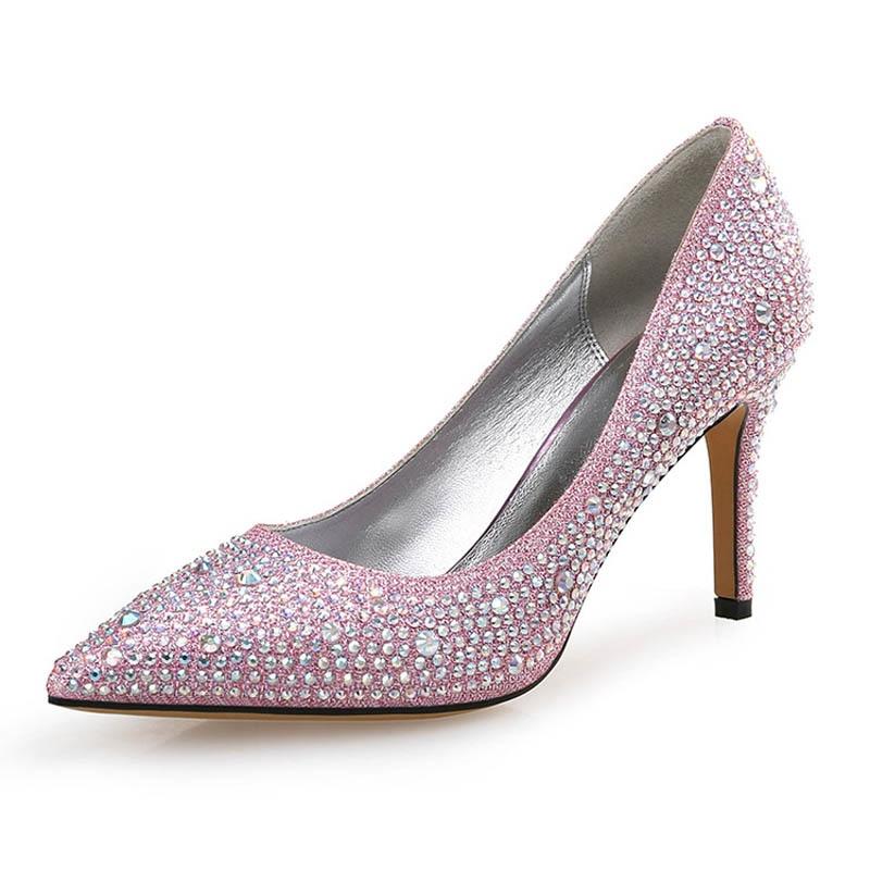 2020 New Sexy Crystal Thin High Heels Shoes Woman Rhinestone Stilettos Wedding Dress Shoes OL Office Party Pumps Sapato Feminino