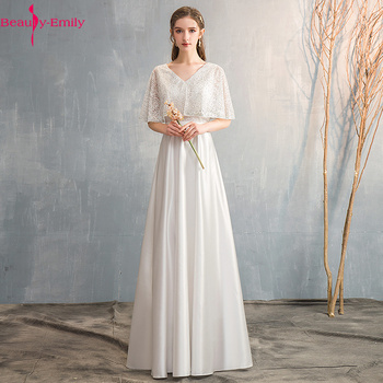 Beauty-Emily 2019 Long Lace V Neck Evening Dresses Half Sleeve Elegant Formal Party Dress Prom Gowns For Stage