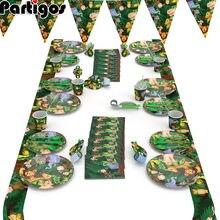 漫画ジャングル動物使い捨てパーティー食器セット動物のテーマパーティーの装飾テーブルクロスプレートナプキン子供の誕生日の供給
