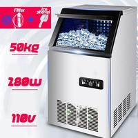 50KG /24H 110V 280W Ice Making Machine Commercial Cube Ice Maker Automatic Household Ice Cube Making Machine for Bar Coffee Shop