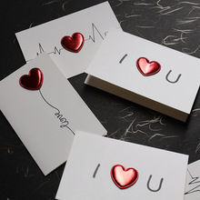 2pcs DIY Paperboard PU 3D Red Heart Greeting Card for Birthday/Valentine's Day/Mother's Day Electrocardiogram/Balloon/I Love You