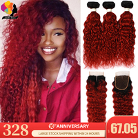 Ombre 1B Red Peruvian Water Wave Bundles With Closure Remy Human Hair Weave 3 Bundles With Closure Remyblue Colored Hair Bundles