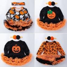 Осеннее платье для девочек одежда на Хэллоуин юбка с длинным