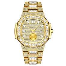 Hip Hop męskie zegarki luksusowe data Quartz Wrist zegarki wodoodporne CZ kamień betonowa stal zegarek ze stali dla mężczyzn urok biżuterii