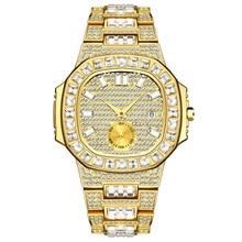 Montre de luxe pour hommes, montre de poignet à Quartz, étanche, pierre CZ pavée en acier inoxydable, breloque