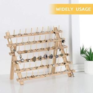 Image 2 - 木製ミシン糸スプールホルダーツール糸ラック木製オーガナイザー縫製 60 スプール糸ホルダーフレーム