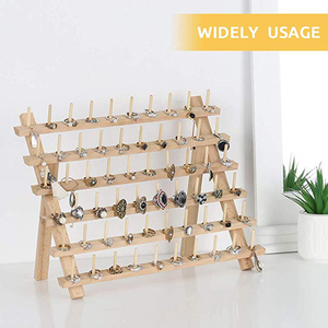Image 2 - Wooden Sewing thread spool holder Tool Thread Rack Wooden Organizer Sewing 60 spool Thread Holder Frame