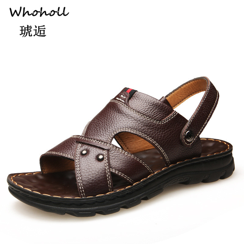 Whoholl Classic Men Soft Sandals Comfortable Summer Shoes Leather Big Size Roman 46