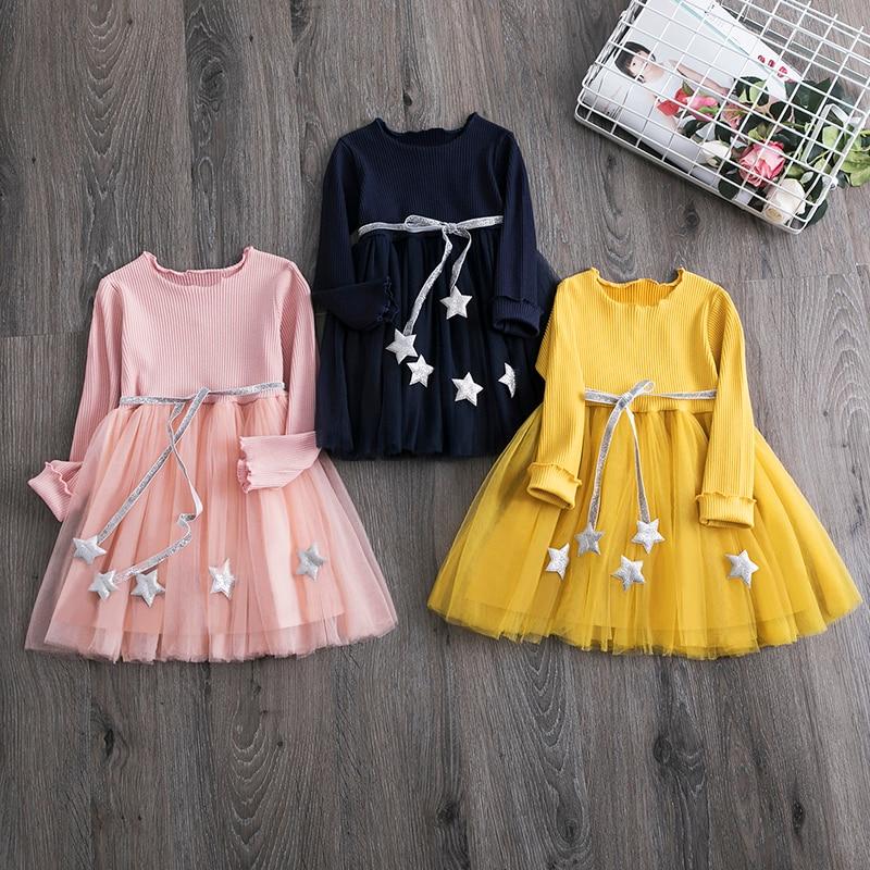 Vestidos infantis para bebês, vestidos para meninas de manga longa, roupas infantis de princesa, vestidos de festa, laço, tutu, roupas de verão para meninas de 3, 8 anos