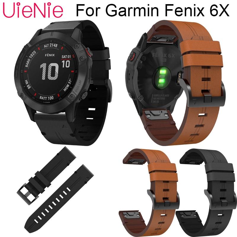 Leather Wrist Watch Strap Easy Fit Quick Link Bracelet Belt 26MM For Garmin Fenix 6X Smart Watch Band Wristband
