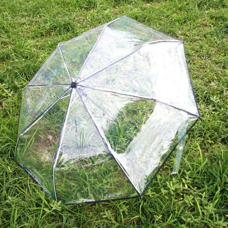 Automatic Transparent Umbrella Rain Women Foldable 3 fold Windproof Umbrellas Men Corporation Rain Gear Clear Field Of Vision