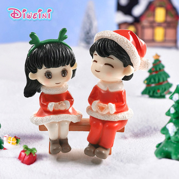 New Christmas Lover Snowman Tree Action Figure Dollhouse Miniature Figurine Home Fairy Garden Decoration Toy Gift For Children image