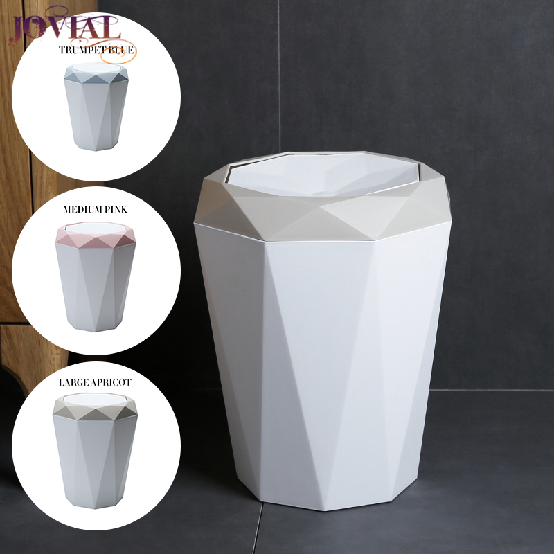 Trash Can Shake Cover Type Diamond Shape Household Plastic Barrel Originality Tuba Mini Art Design Living Room Clean Zero Waste