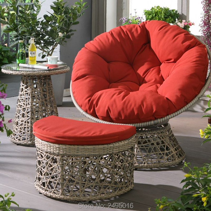 3pcs / Set Metal Frame & PE Rattan Wicker Round ,Outdoor Garden  Sets Balcony Porch Furniture Sets  With Small Table ,stool