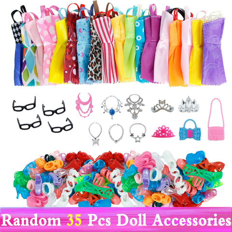 Random 1 Set Doll Accessories for Barbie Doll Shoes Boots Mini Dress Handbags Crown Hangers Glasses Doll Clothes Kids Toy 12 Karachi