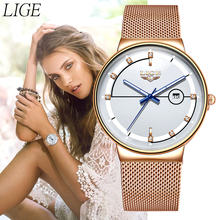 New LIGE Womens Watches Top Brand luxury Analog Quartz Watch Women Mesh Stainless Steel Date Clock Fashion Ultra-thin Waterproof