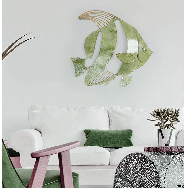 Simple Modern Wrought Iron Single Sea Fish Wall Hanging Pendant Home Livingroom Wall Mural Decoration Porch Wall Sticker Crafts