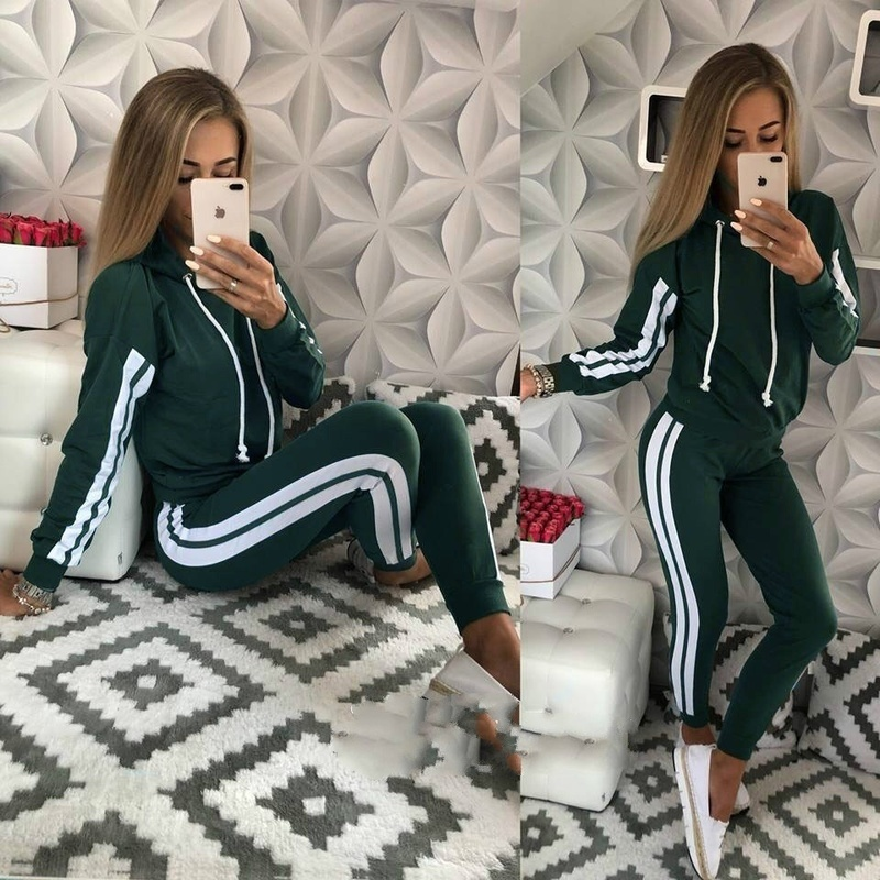 ZOGAA Outfits 2 Piece Women Running Set Hooded Sweatshirts with Pants Patchwork Slim Casual Sweat Suit Sets Female Tracksuit