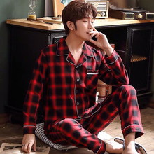 Мода красный плед мужчины пижама весна лето хлопок пижама комплекты повседневный мужской пижама супер качество дышащий удобный одежда для сна