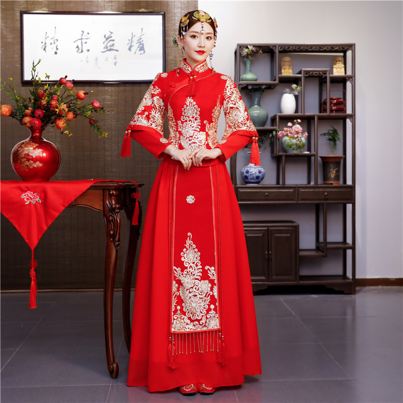 Ancient Clothes, Show Clothes, Wedding Dress, Dragon And Phoenix Gown, Bridal Dress, Autumn And Winter Long Cheongsam