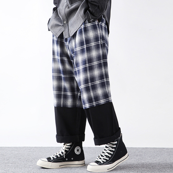 Plaid Contrast Trousers Mens Lazy Baggy Wide-Leg Colorblock Cropped Pants Men Checkered Ninth-pants Ankle-Length Trousers фото