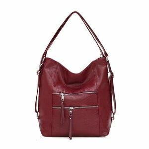 Image 1 - Luxury Handbags Women Bags Designer 2019 Women soft leather shoulder Bag Retro Solid Vintage Casual Tote Bag Ladies Hand Bags
