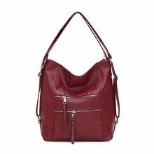 Sacs à main de luxe femmes sacs Designer 2019 femmes en cuir souple sac à bandoulière rétro solide décontracté sac fourre tout dames sacs à main