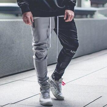 Grey\black men gym sport pants patchwork sweatpants