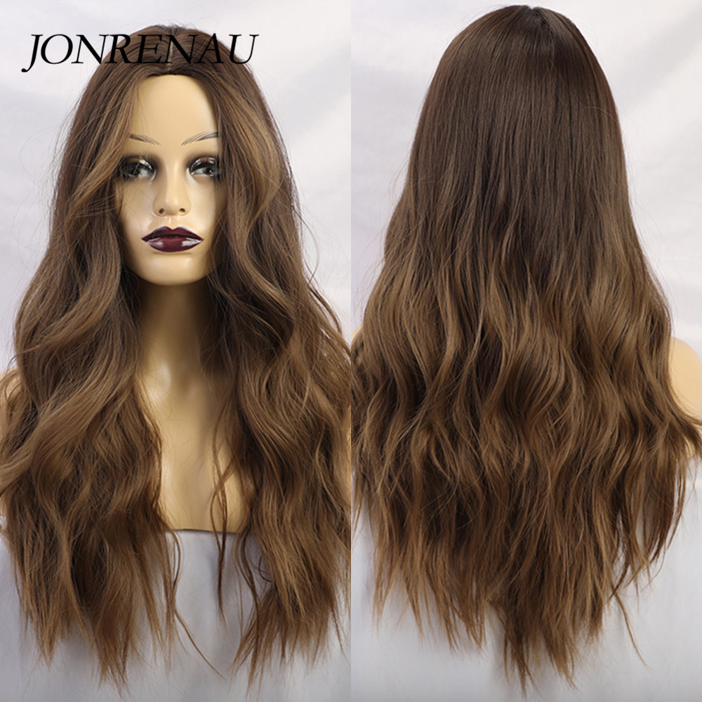 JONRENAU Long Synthetic Ombre Brown To Blonde Golden Natural Wave Hair Wigs For White/Black Women Daily Wear