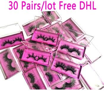 Venta al por mayor 30 par/lote 5D pestañas de visón 25mm pestañas de visón hechas a mano 10 estilos pestañas de visón 3D
