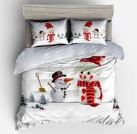 Duvet Cover Set Bed Sheets and Pillowcases Comforter Bedding Set Christmas gift present bedding sets Santa Claus snowman Cartoon
