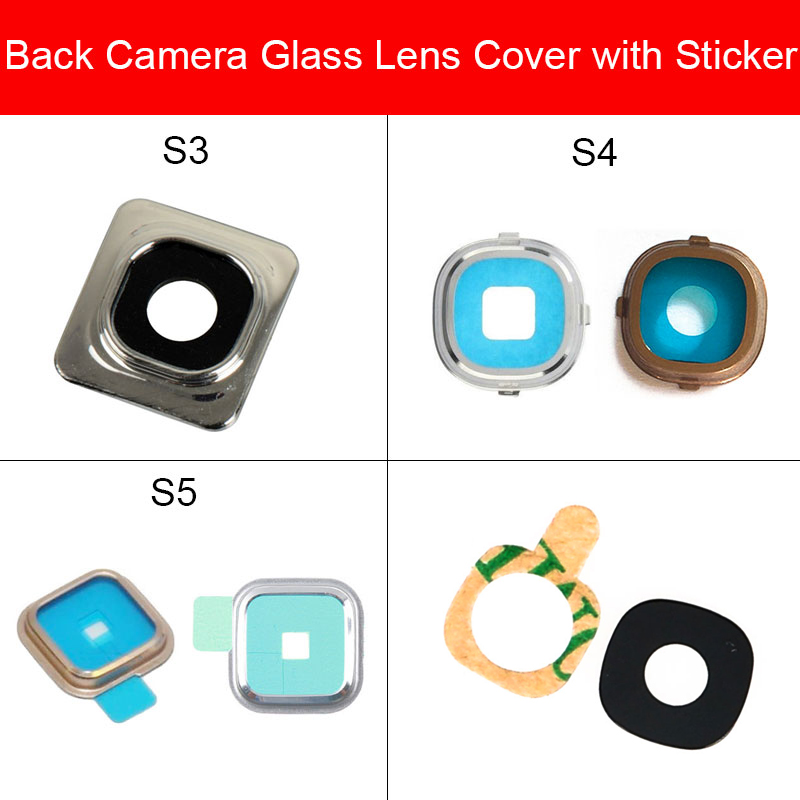 Back Rear Camera Lens Glass With Adhesive Stick For Samsung Galaxy S3 S4 I9500 S5 Main Camera Lens Glass Replacement Parts