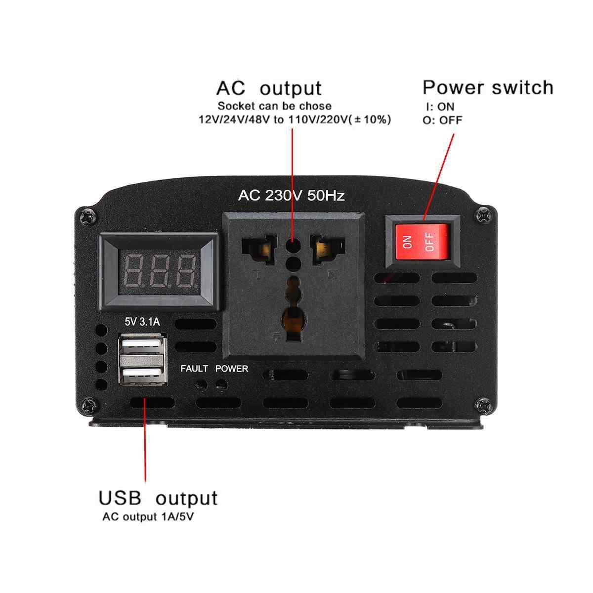 Invertör 12000W/10000W DC 12V için AC 220V çift USB araba güç invertörü şarj dönüştürücü adaptör modifiye sinüs dalgası trafo