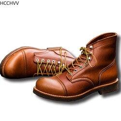 Nouveau printemps automne Vintage outillage ailes foncées mâle moto bottes qualité cuir de vache bout rond rouge hommes décontracté bottines