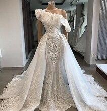 цена на 2020 Straps Lace Mermaid Wedding Dresses Boho Tulle Applique Beaded Sweep Train Beach Wedding Bridal Gowns