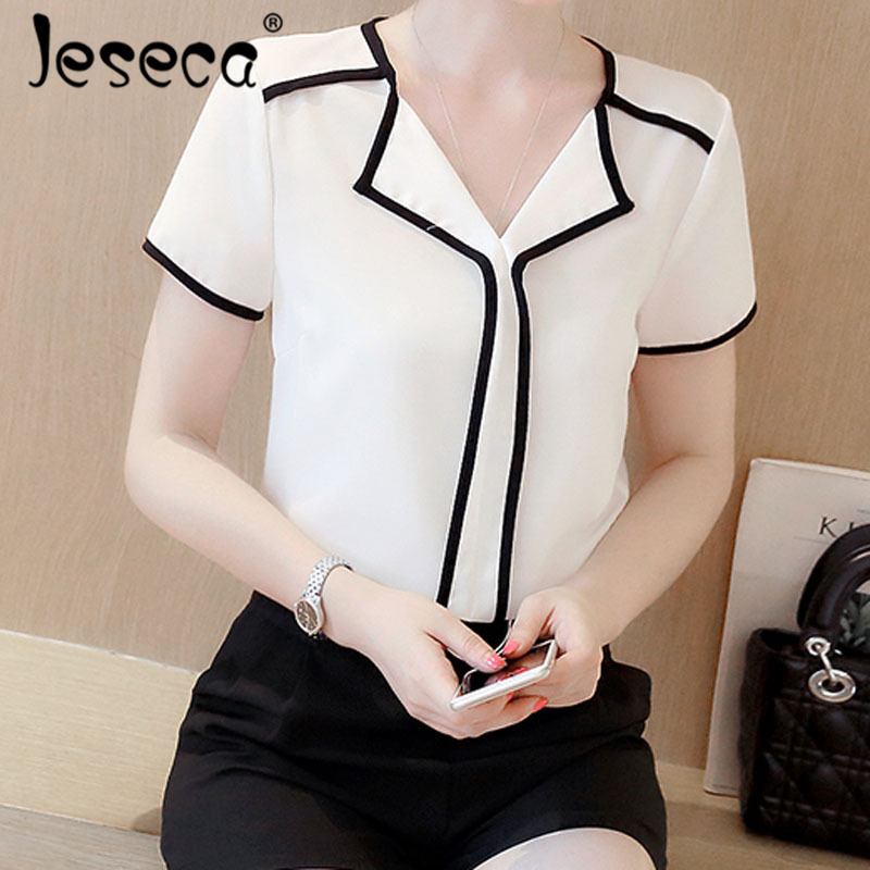 Jeseca New Women Cloth Chiffon   Shirt     Blouse   Patchwork Female Loose Korean Short Sleeve Tops   Shirt   White   Blouses   Fit Tops