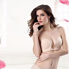 One-Piece Deep U Invisible Bra No Trace Sexy Gathered Silicone Breathable Bra Invisible Comfortable Underwear Chest Sticker translucent invisible silicone round bra