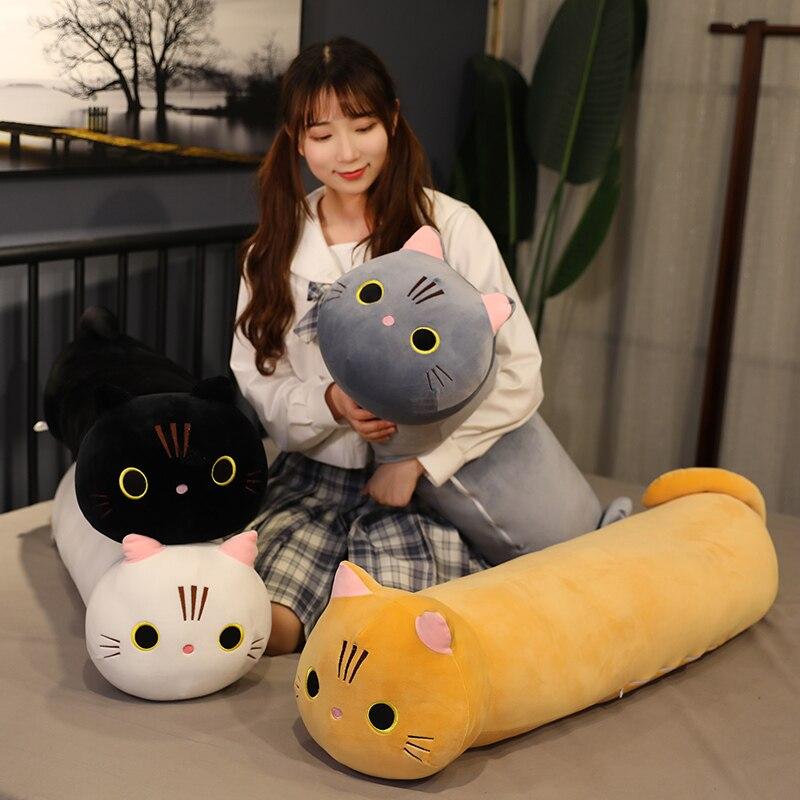 35-100cm Kawaii couché chat en peluche oreiller doux mignon peluche jouets poupée beaux jouets pour enfants filles saint valentin cadeau danniversaire