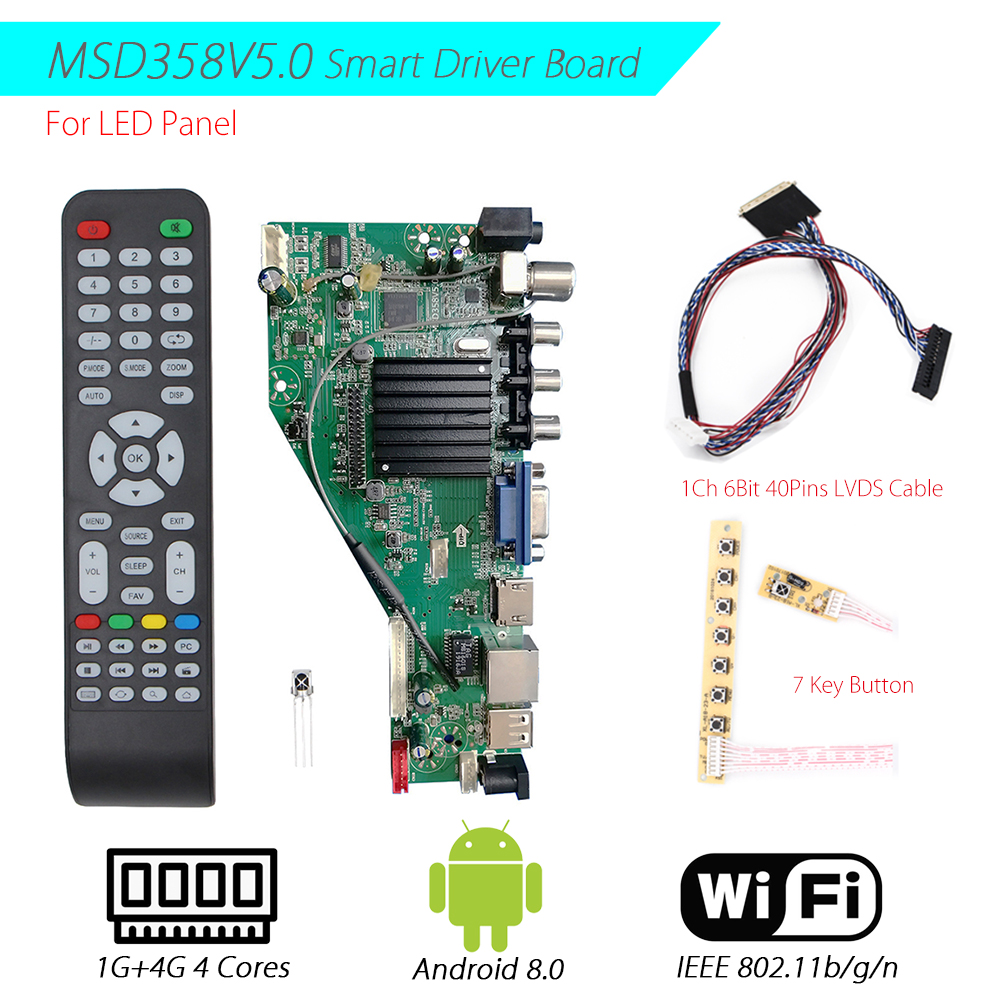 MSD358V5.0 Android 8.0 1G+4G 4 Cores Intelligent Smart Wireless Network WI-FI <font><b>TV</b></font> <font><b>LCD</b></font> <font><b>Driver</b></font> Board with 1ch 6bit 40pin lvds cable image