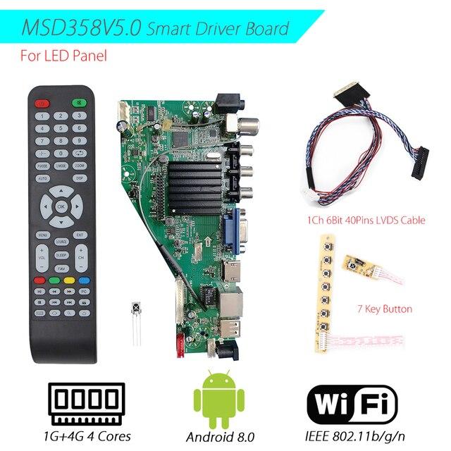 Mit 1Ch 6Bit 40Pin LVDS Kabel MSD358V 5,0 Android 8,0 1G + 4G 4 Kerne Intelligente Smart Wireless netzwerk WI FI TV LCD Treiber platine