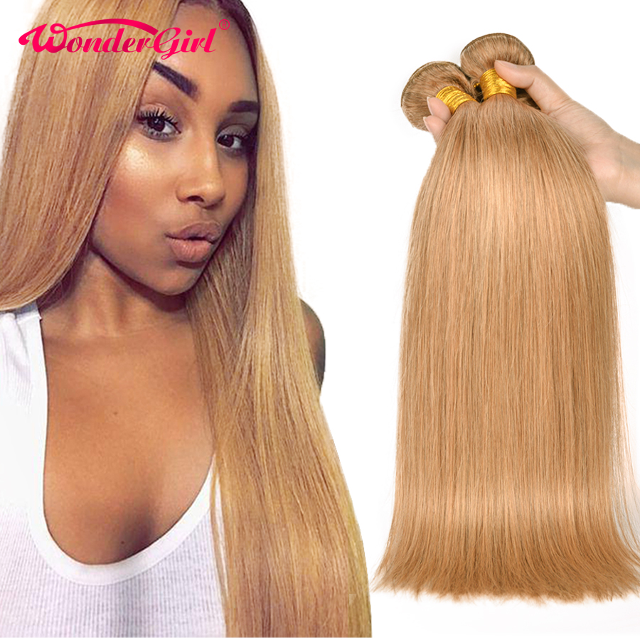 Wonder Girl 3 Bundle Deals Color 27 Honey Blonde Brazilian Straight Hair Bundles 100% Human Hair Extension 12-24inch Non-remy