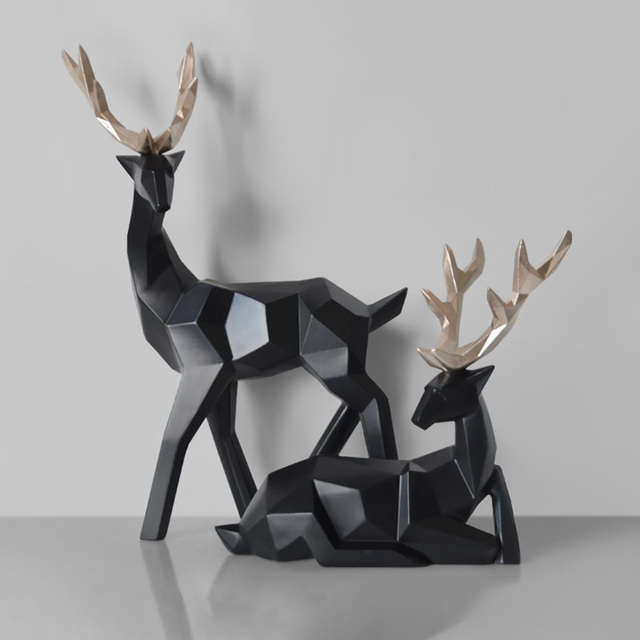 2Pcs Deer Statue Nordic Decoration Home Decor Statues Geometric Resin Deer Figure/Figurines/Sculpture Modern Decoration Abstract 3
