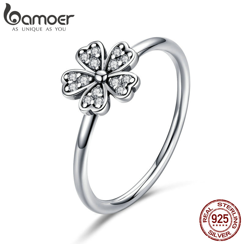 BAMOER Two Colors Fashion Elegant Original 925 Sterling Silver Dazzling Daisy Flower Ring Clear CZ Wedding Jewelry SCR398