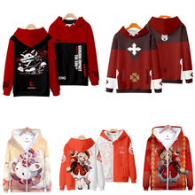 Hot Game Genshin Impact Cosplay Jacket Klee Diluc Paimon Keqing 3D Print Funny Hoodie Zipper Hooded Sweatshirt Anime Clothes