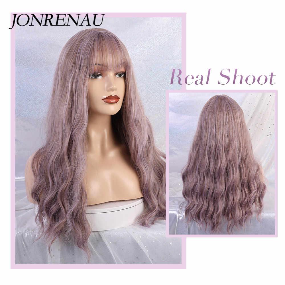 JONRENAU pelucas largas sintéticas con ondas naturales, con flequillo al aire, pelucas de mezcla de morado para mujeres blancas/negras, para fiestas o uso diario