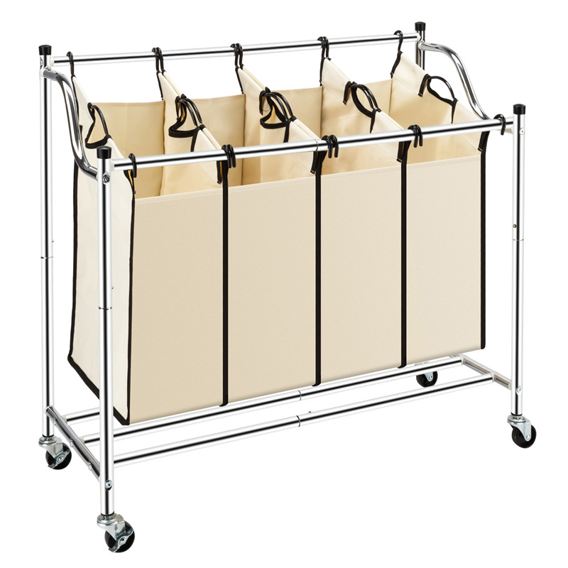 Bonnlo Laundry Sorter 4-Bag Heavy-Duty Rolling Divided Laundry Hamper Cart With Removable Bags And Brake Casters Chrome